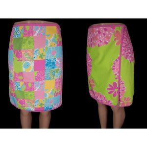 LILLY PULTIZER 6 Rev Patchwork Floral Wrap Skirt